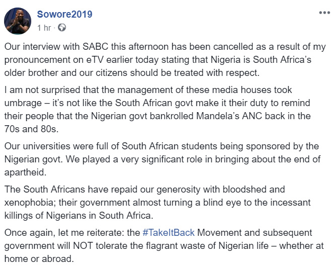 SABC Cancel Sowore's Interview for Calling Nigeria a Big brother to South Africa